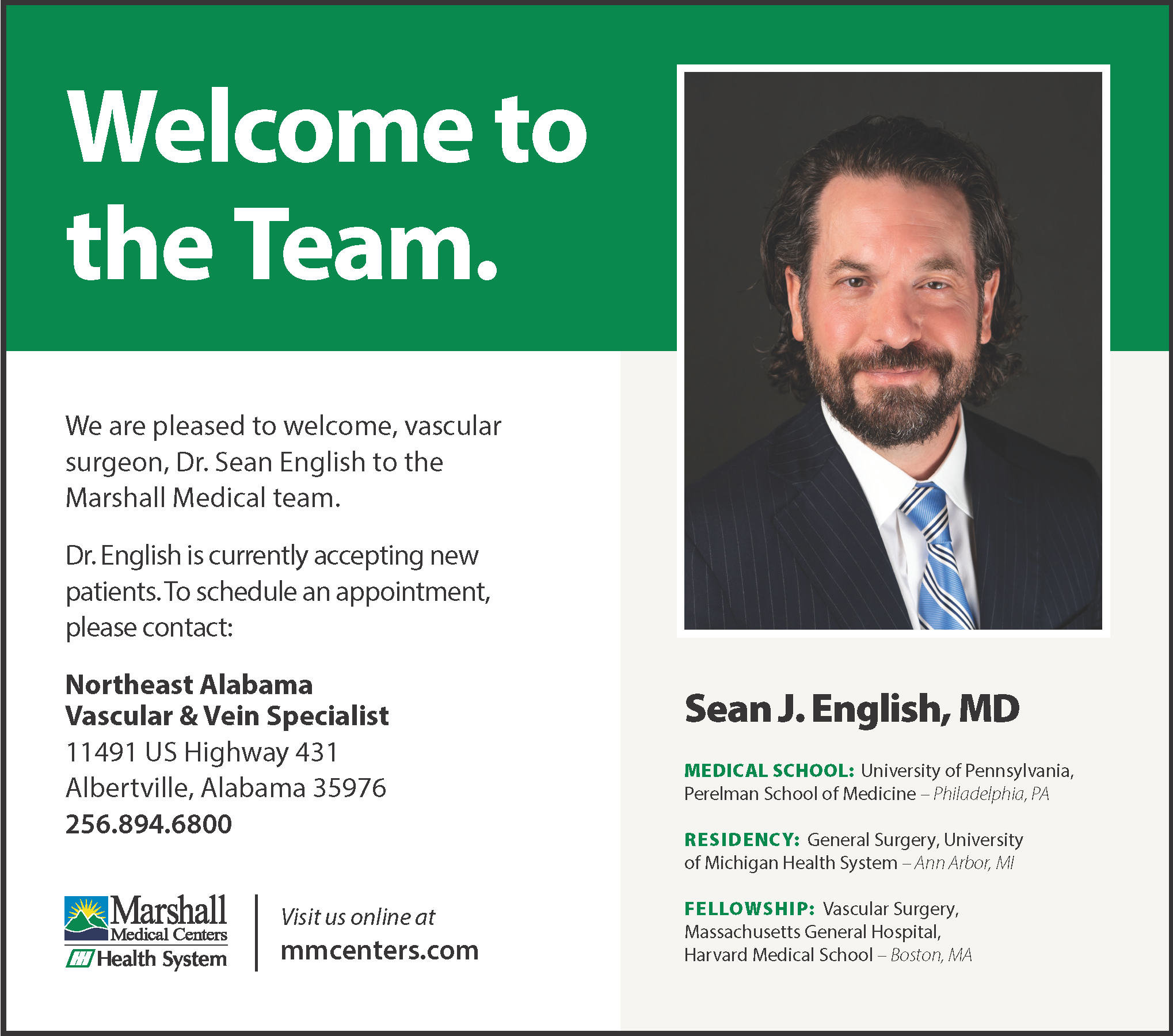Marshall Medical Centers Welcomes Dr. Sean English
